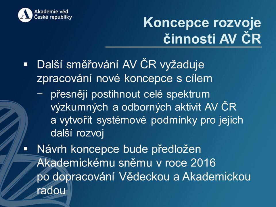 Koncepce rozvoje činnosti AV ČR  Další směřování AV ČR vyžaduje zpracování nové koncepce s cílem −přesněji postihnout celé spektrum výzkumných a odbo