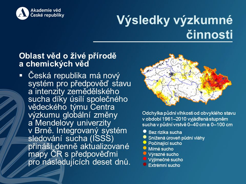 Výsledky výzkumné činnosti Oblast věd o živé přírodě a chemických věd  Česká republika má nový systém pro předpověď stavu a intenzity zemědělského sucha díky úsilí společného vědeckého týmu Centra výzkumu globální změny a Mendelovy univerzity v Brně.