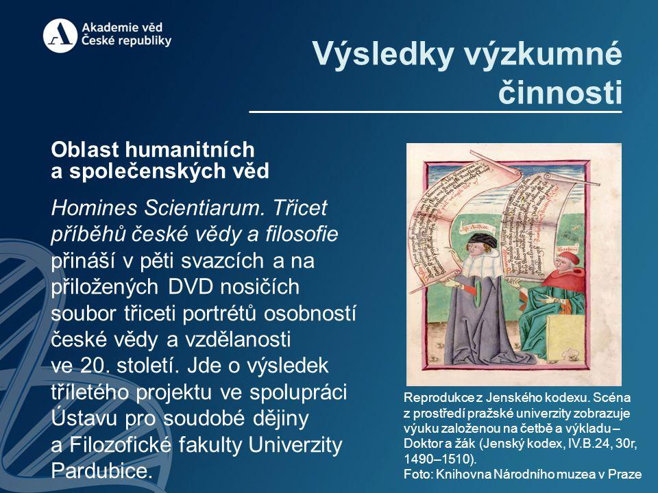 Výsledky výzkumné činnosti Oblast humanitních a společenských věd Homines Scientiarum. Třicet příběhů české vědy a filosofie přináší v pěti svazcích a