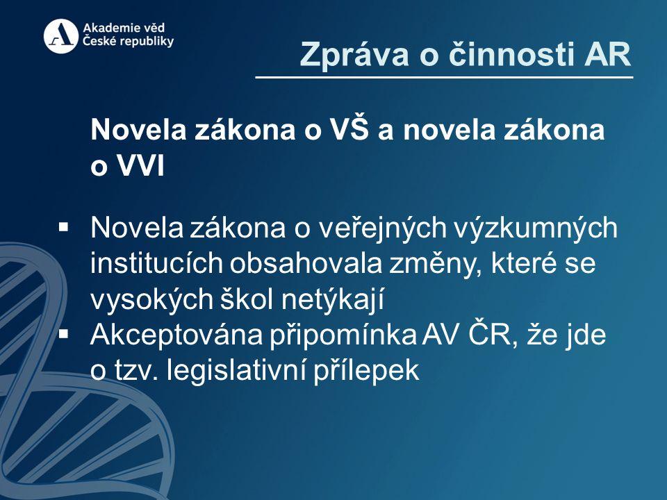 Novela zákona o VŠ a novela zákona o VVI  Novela zákona o veřejných výzkumných institucích obsahovala změny, které se vysokých škol netýkají  Akcept