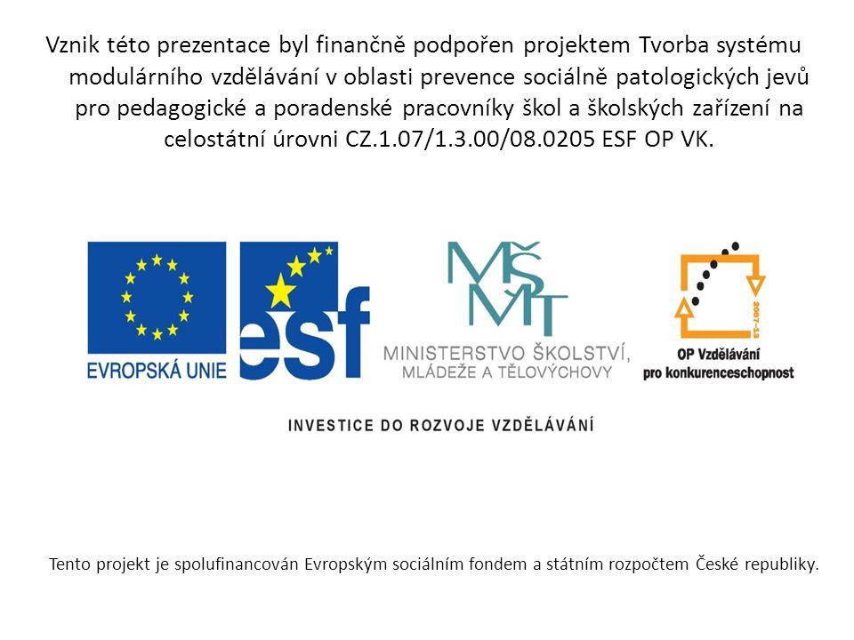 Tento projekt je spolufinancován Evropským sociálním fondem a státním rozpočtem České republiky. Vznik této prezentace byl finančně podpořen projektem