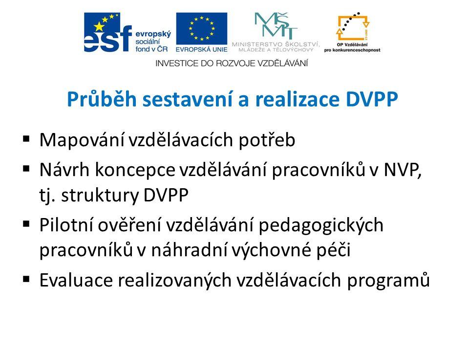 Průběh sestavení a realizace DVPP  Mapování vzdělávacích potřeb  Návrh koncepce vzdělávání pracovníků v NVP, tj. struktury DVPP  Pilotní ověření vz