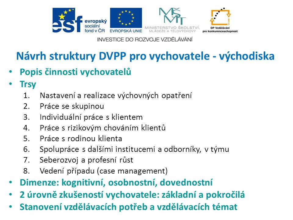 Návrh struktury DVPP pro vychovatele - východiska Popis činnosti vychovatelů Trsy 1.Nastavení a realizace výchovných opatření 2.Práce se skupinou 3.In