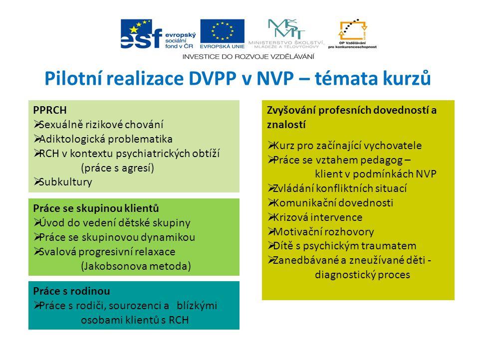 Pilotní realizace DVPP v NVP – témata kurzů PPRCH  Sexuálně rizikové chování  Adiktologická problematika  RCH v kontextu psychiatrických obtíží (pr