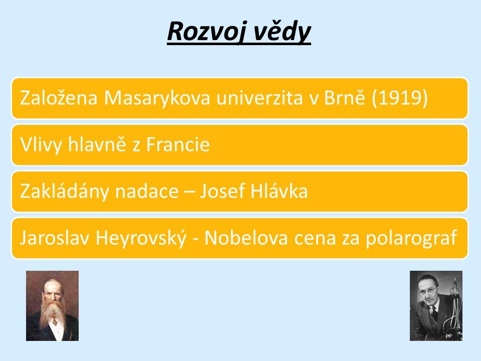 Rozvoj vědy Založena Masarykova univerzita v Brně (1919)Vlivy hlavně z FrancieZakládány nadace – Josef HlávkaJaroslav Heyrovský - Nobelova cena za pol