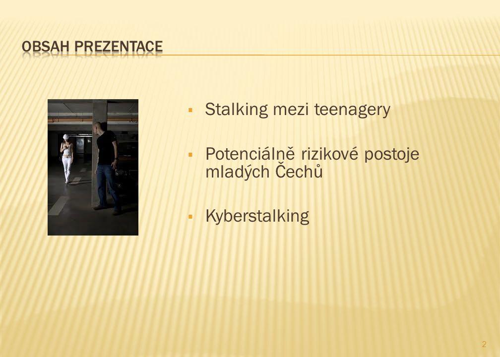  Stalking mezi teenagery  Potenciálně rizikové postoje mladých Čechů  Kyberstalking 2