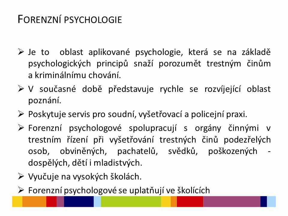 PRAMENY  MATOUŠKOVÁ, Ingrid.Aplikovaná forenzní psychologie.