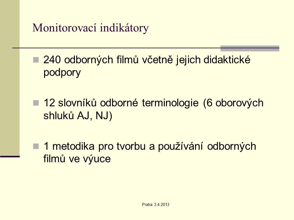 Praha 3.4.2013 Monitorovací indikátory 240 odborných filmů včetně jejich didaktické podpory 12 slovníků odborné terminologie (6 oborových shluků AJ, NJ) 1 metodika pro tvorbu a používání odborných filmů ve výuce
