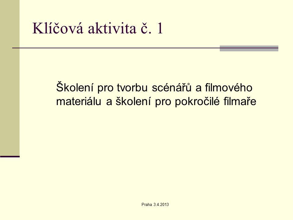 Praha 3.4.2013 Klíčová aktivita č. 2 Vlastní výroba filmů (scénáře a filmy )