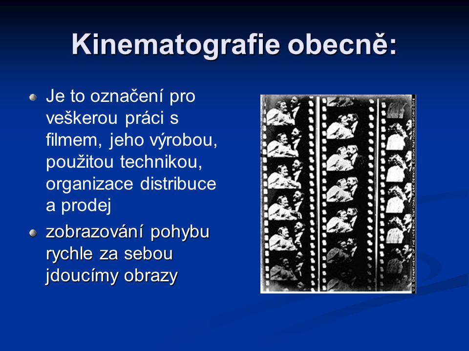Kinematografie obecně: Je to označení pro veškerou práci s filmem, jeho výrobou, použitou technikou, organizace distribuce a prodej zobrazování pohybu
