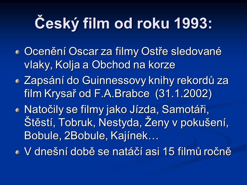 Český film od roku 1993: Ocenění Oscar za filmy Ostře sledované vlaky, Kolja a Obchod na korze Zapsání do Guinnessovy knihy rekordů za film Krysař od
