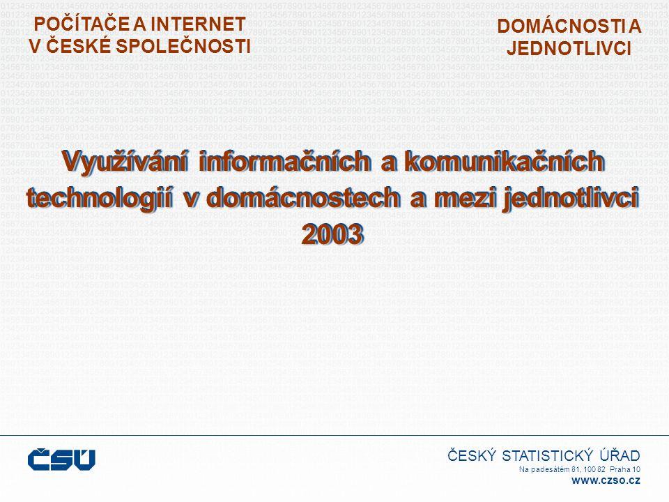 ČESKÝ STATISTICKÝ ÚŘAD Na padesátém 81, 100 82 Praha 10 www.czso.cz POČÍTAČE A INTERNET V ČESKÉ SPOLEČNOSTI DOMÁCNOSTI A JEDNOTLIVCI Využívání informačních a komunikačních technologií v domácnostech a mezi jednotlivci 2003