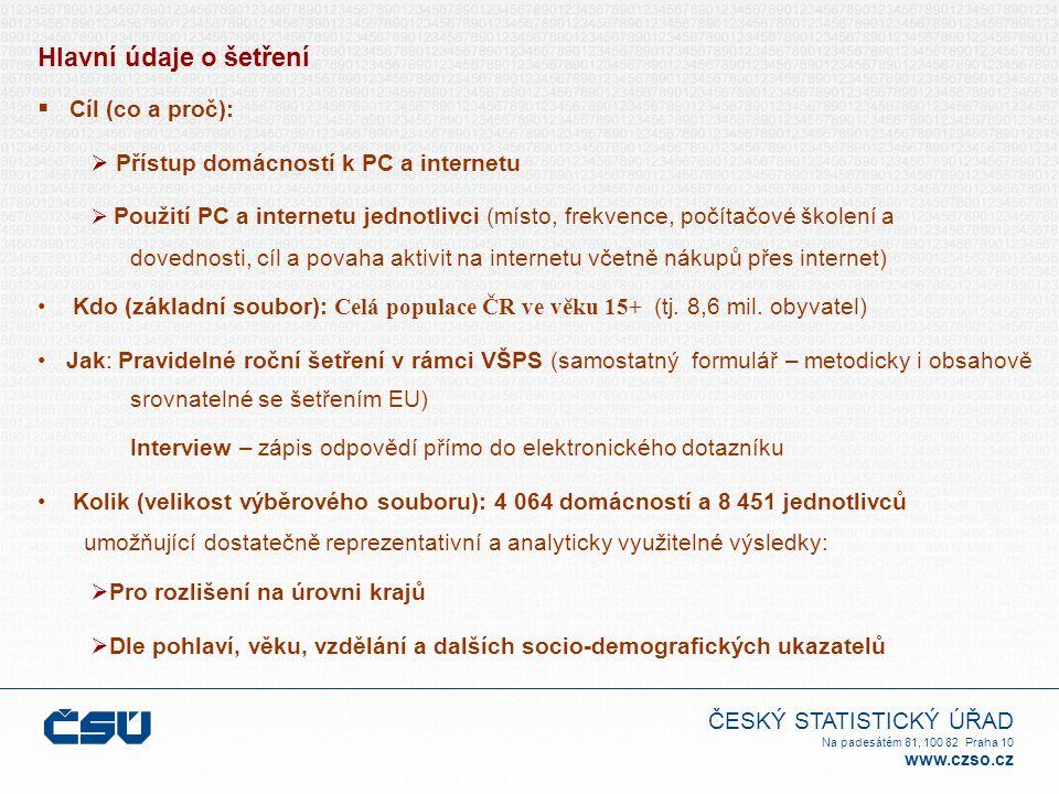 ČESKÝ STATISTICKÝ ÚŘAD Na padesátém 81, 100 82 Praha 10 www.czso.cz Hlavní údaje o šetření  Cíl (co a proč):  Přístup domácností k PC a internetu  Použití PC a internetu jednotlivci (místo, frekvence, počítačové školení a dovednosti, cíl a povaha aktivit na internetu včetně nákupů přes internet) Kdo (základní soubor): Celá populace ČR ve věku 15+ (tj.