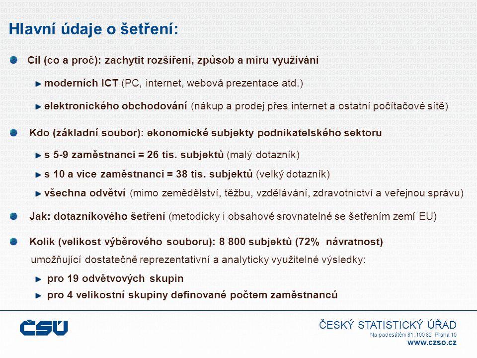 ČESKÝ STATISTICKÝ ÚŘAD Na padesátém 81, 100 82 Praha 10 www.czso.cz Hlavní údaje o šetření: Cíl (co a proč): zachytit rozšíření, způsob a míru využívá