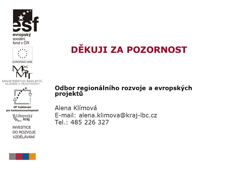 DĚKUJI ZA POZORNOST Odbor regionálního rozvoje a evropských projektů Alena Klímová E-mail: alena.klimova@kraj-lbc.cz Tel.: 485 226 327