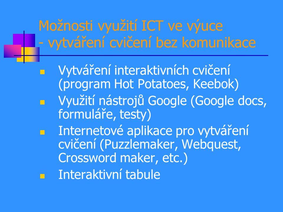 Možnosti využití ICT ve výuce - vytváření cvičení bez komunikace Vytváření interaktivních cvičení (program Hot Potatoes, Keebok) Využití nástrojů Google (Google docs, formuláře, testy) Internetové aplikace pro vytváření cvičení (Puzzlemaker, Webquest, Crossword maker, etc.) Interaktivní tabule