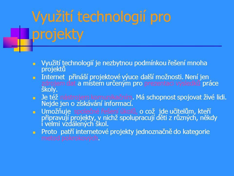Využití technologií pro projekty Využití technologií je nezbytnou podmínkou řešení mnoha projektů Internet přináší projektové výuce další možnosti.
