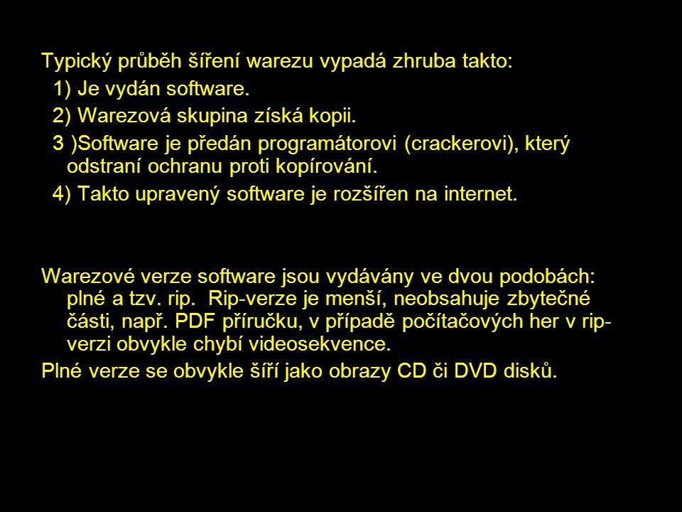 Typický průběh šíření warezu vypadá zhruba takto: 1) Je vydán software. 2) Warezová skupina získá kopii. 3 )Software je předán programátorovi (cracker