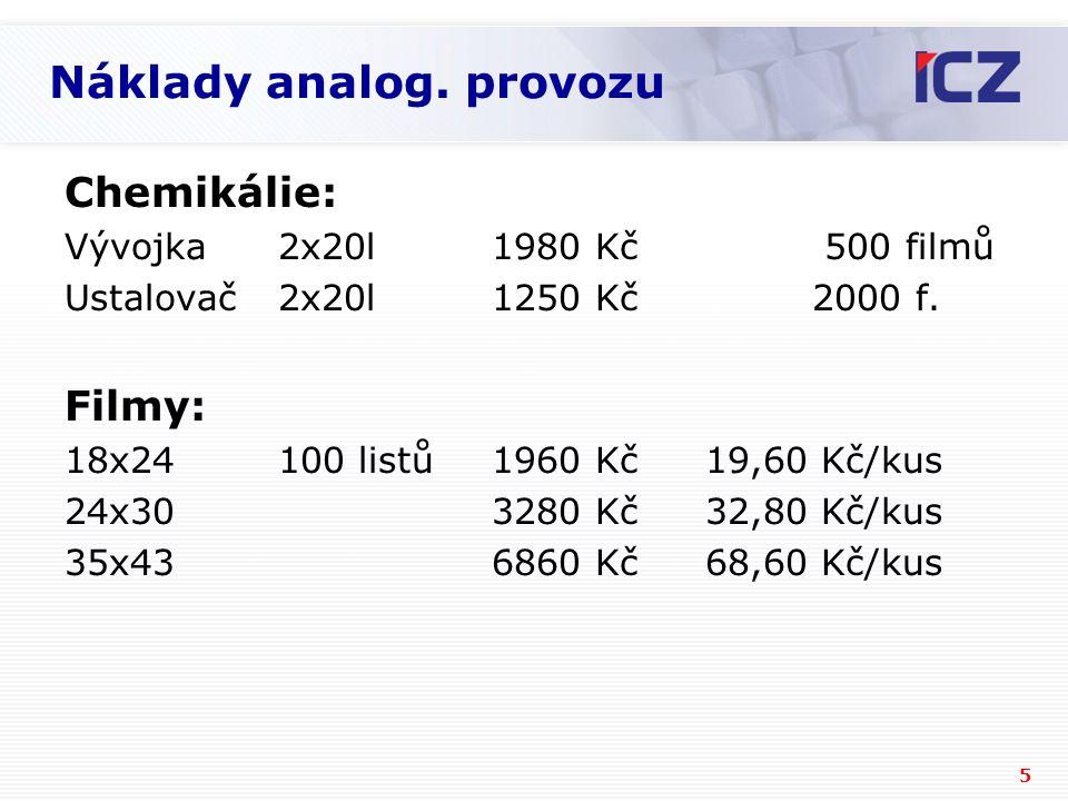 5 Náklady analog. provozu Chemikálie: Vývojka2x20l1980 Kč 500 filmů Ustalovač2x20l1250 Kč2000 f.