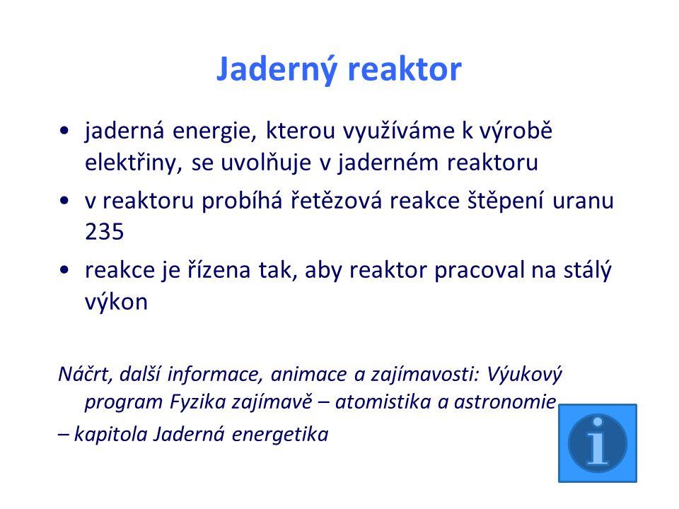 Jaderný reaktor jaderná energie, kterou využíváme k výrobě elektřiny, se uvolňuje v jaderném reaktoru v reaktoru probíhá řetězová reakce štěpení uranu 235 reakce je řízena tak, aby reaktor pracoval na stálý výkon Náčrt, další informace, animace a zajímavosti: Výukový program Fyzika zajímavě – atomistika a astronomie – kapitola Jaderná energetika
