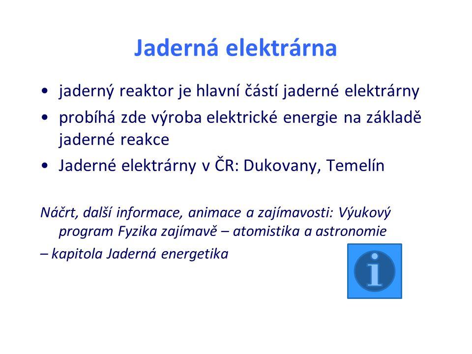 Jaderná elektrárna jaderný reaktor je hlavní částí jaderné elektrárny probíhá zde výroba elektrické energie na základě jaderné reakce Jaderné elektrárny v ČR: Dukovany, Temelín Náčrt, další informace, animace a zajímavosti: Výukový program Fyzika zajímavě – atomistika a astronomie – kapitola Jaderná energetika