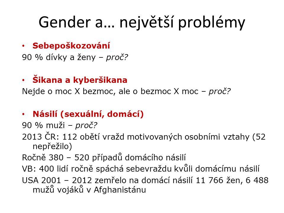 Gender a… největší problémy Sebepoškozování 90 % dívky a ženy – proč.