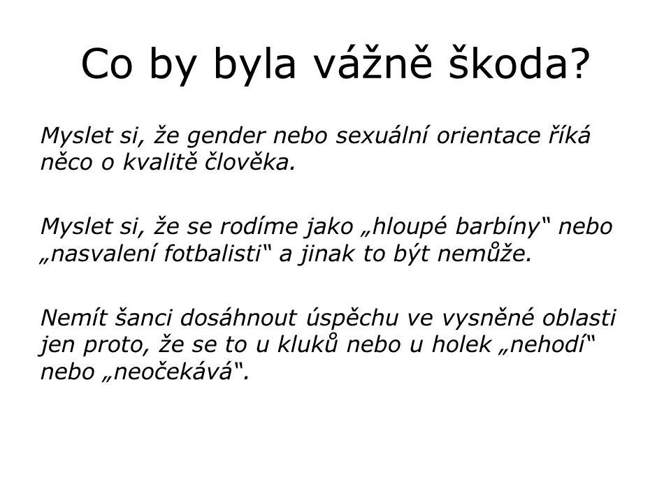Co by byla vážně škoda. Myslet si, že gender nebo sexuální orientace říká něco o kvalitě člověka.