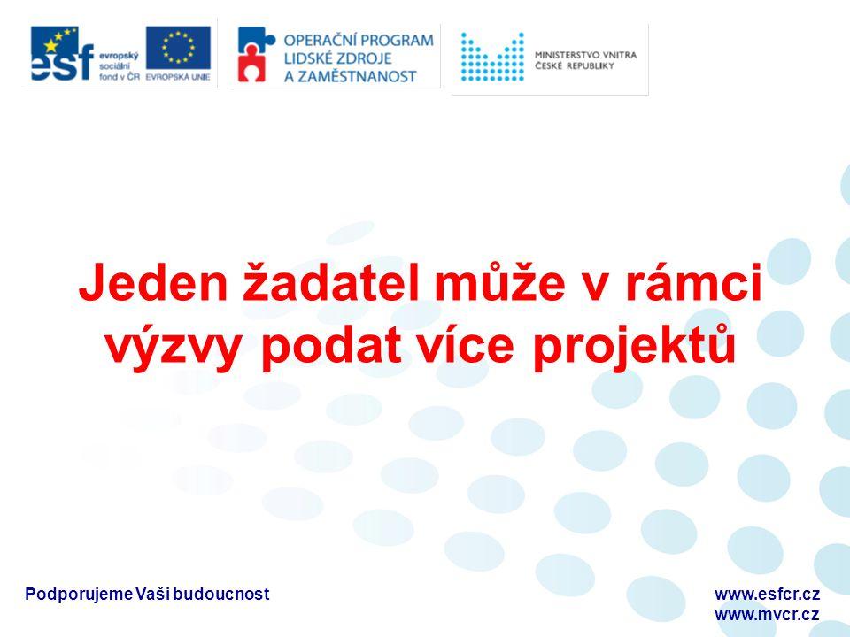 Jeden žadatel může v rámci výzvy podat více projektů Podporujeme Vaši budoucnostwww.esfcr.cz www.mvcr.cz