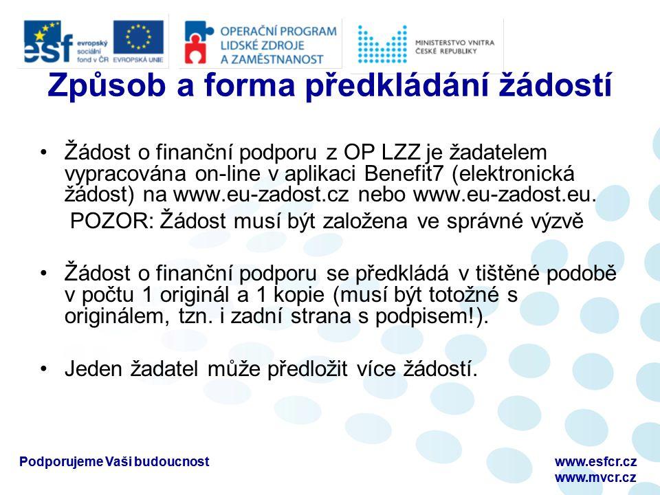 Podporujeme Vaši budoucnostwww.esfcr.cz www.mvcr.cz Podporujeme Vaši budoucnostwww.esfcr.cz www.mvcr.cz Způsob a forma předkládání žádostí Žádost o finanční podporu z OP LZZ je žadatelem vypracována on-line v aplikaci Benefit7 (elektronická žádost) na www.eu-zadost.cz nebo www.eu-zadost.eu.
