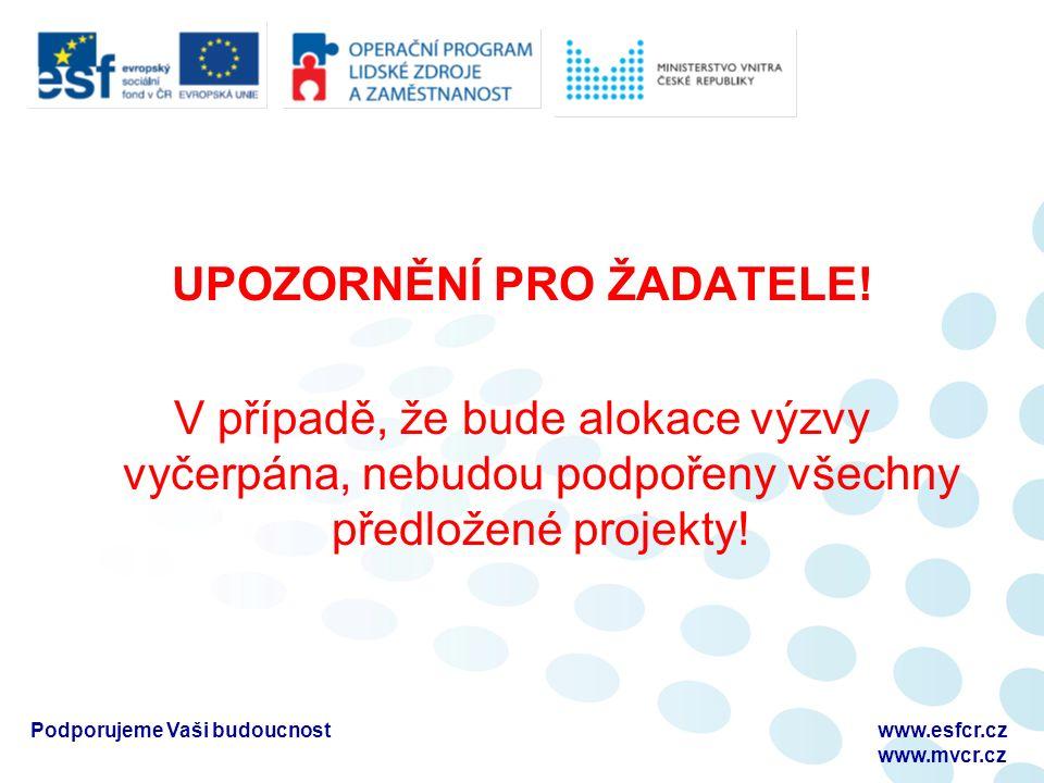 Podporujeme Vaši budoucnostwww.esfcr.cz www.mvcr.cz UPOZORNĚNÍ PRO ŽADATELE.