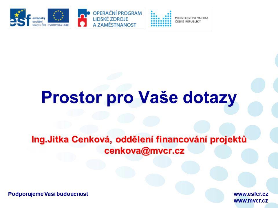 Podporujeme Vaši budoucnostwww.esfcr.cz www.mvcr.cz Podporujeme Vaši budoucnostwww.esfcr.cz www.mvcr.cz Prostor pro Vaše dotazy Ing.Jitka Cenková, oddělení financování projektů cenkova@mvcr.cz