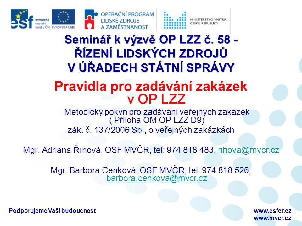 Seminář k výzvě OP LZZ č.