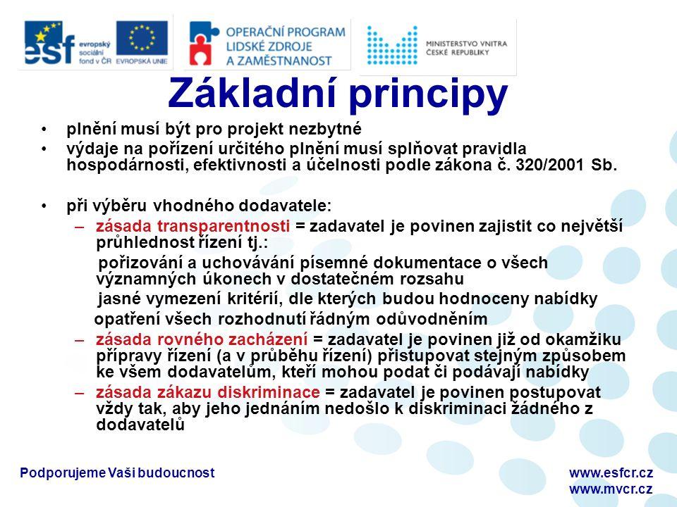 Základní principy plnění musí být pro projekt nezbytné výdaje na pořízení určitého plnění musí splňovat pravidla hospodárnosti, efektivnosti a účelnosti podle zákona č.