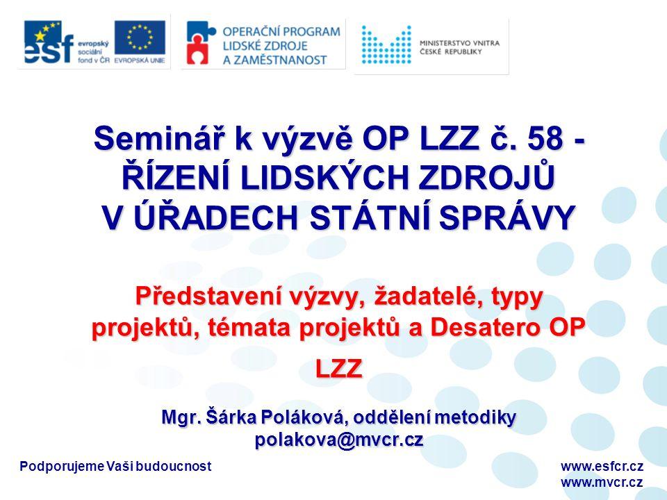 Podporujeme Vaši budoucnostwww.esfcr.cz www.mvcr.cz Prostor pro Vaše dotazy