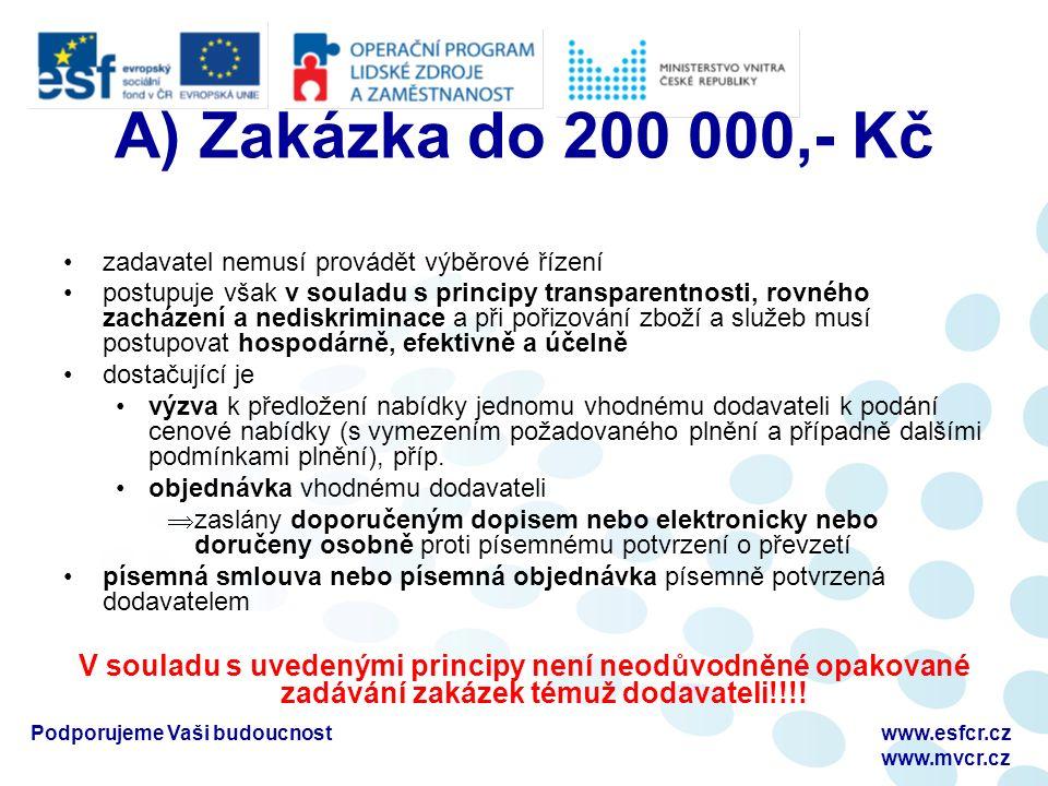 A) Zakázka do 200 000,- Kč zadavatel nemusí provádět výběrové řízení postupuje však v souladu s principy transparentnosti, rovného zacházení a nediskriminace a při pořizování zboží a služeb musí postupovat hospodárně, efektivně a účelně dostačující je výzva k předložení nabídky jednomu vhodnému dodavateli k podání cenové nabídky (s vymezením požadovaného plnění a případně dalšími podmínkami plnění), příp.