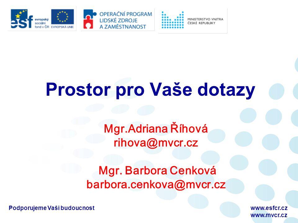 Podporujeme Vaši budoucnostwww.esfcr.cz www.mvcr.cz Prostor pro Vaše dotazy Mgr.Adriana Říhová rihova@mvcr.cz Mgr.