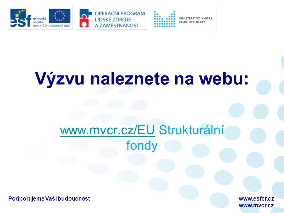 Výzvu naleznete na webu: www.mvcr.cz/EUwww.mvcr.cz/EU Strukturální fondy Podporujeme Vaši budoucnostwww.esfcr.cz www.mvcr.cz