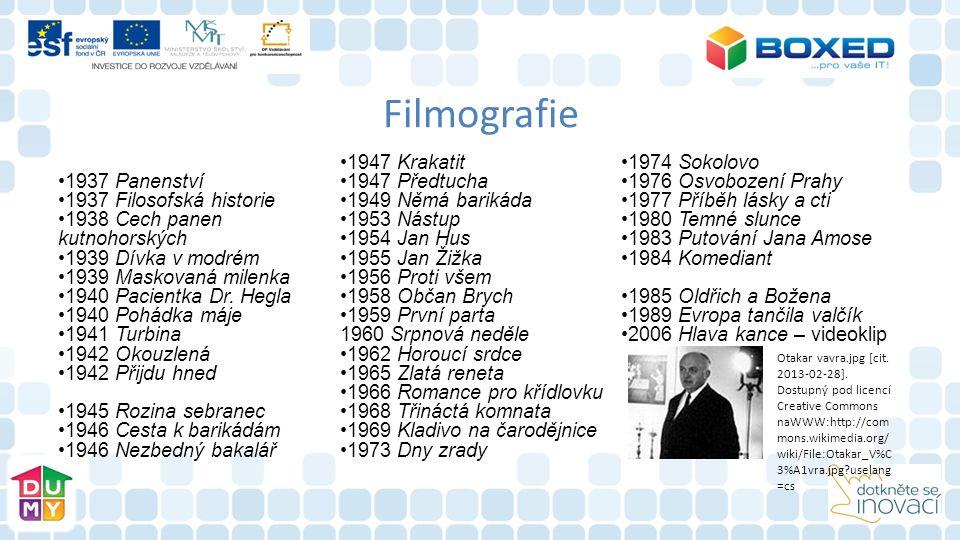 Filmografie 1937 Panenství 1937 Filosofská historie 1938 Cech panen kutnohorských 1939 Dívka v modrém 1939 Maskovaná milenka 1940 Pacientka Dr. Hegla