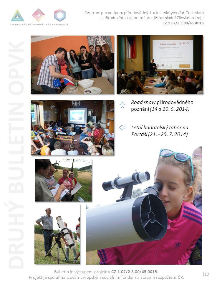 Centrum pro podporu přírodovědných a technických věd: Technická a přírodovědná laboratoř pro děti a mládež Zlínského kraje CZ.1.07/2.3.00/45.0015 |10 Bulletin je výstupem projektu CZ.1.07/2.3.00/45.0015.