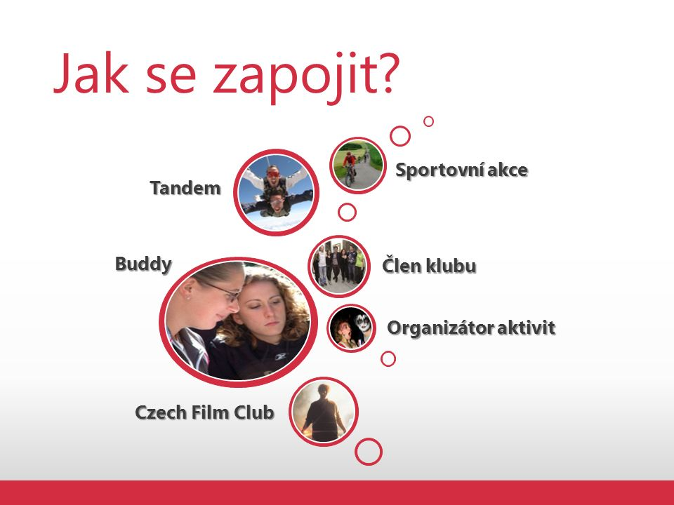 Jak se zapojit?Buddy Organizátor aktivit Člen klubu Tandem Sportovní akce Czech Film Club