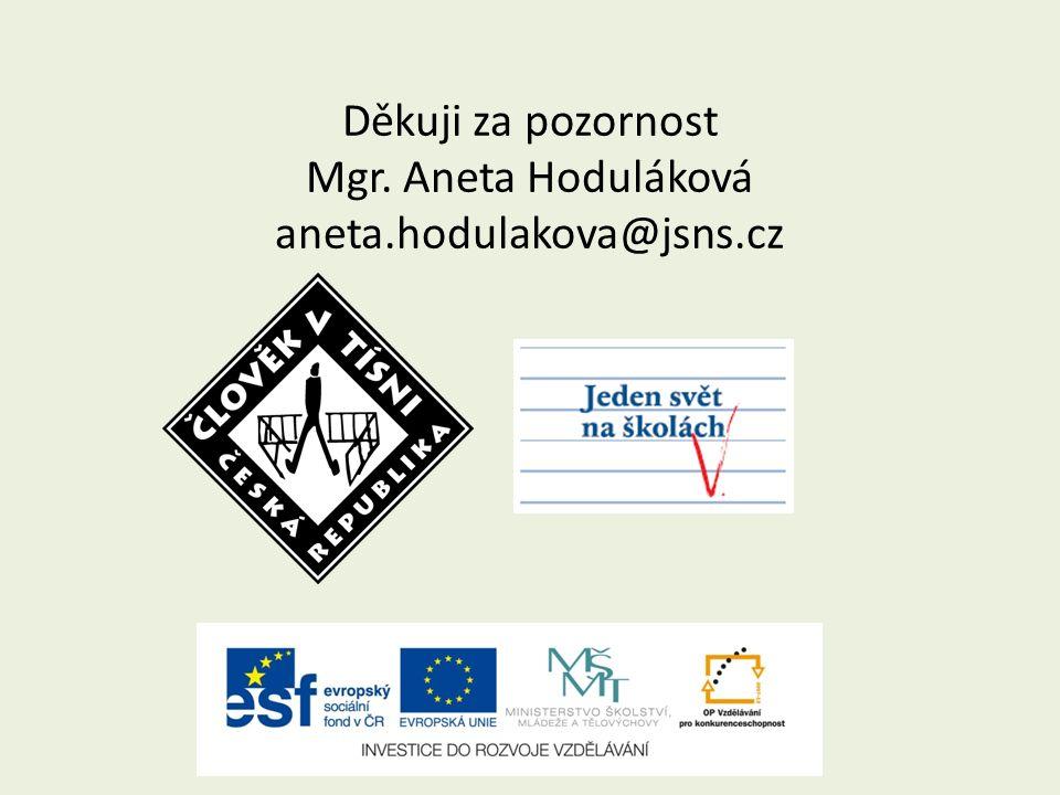 Děkuji za pozornost Mgr. Aneta Hoduláková aneta.hodulakova@jsns.cz