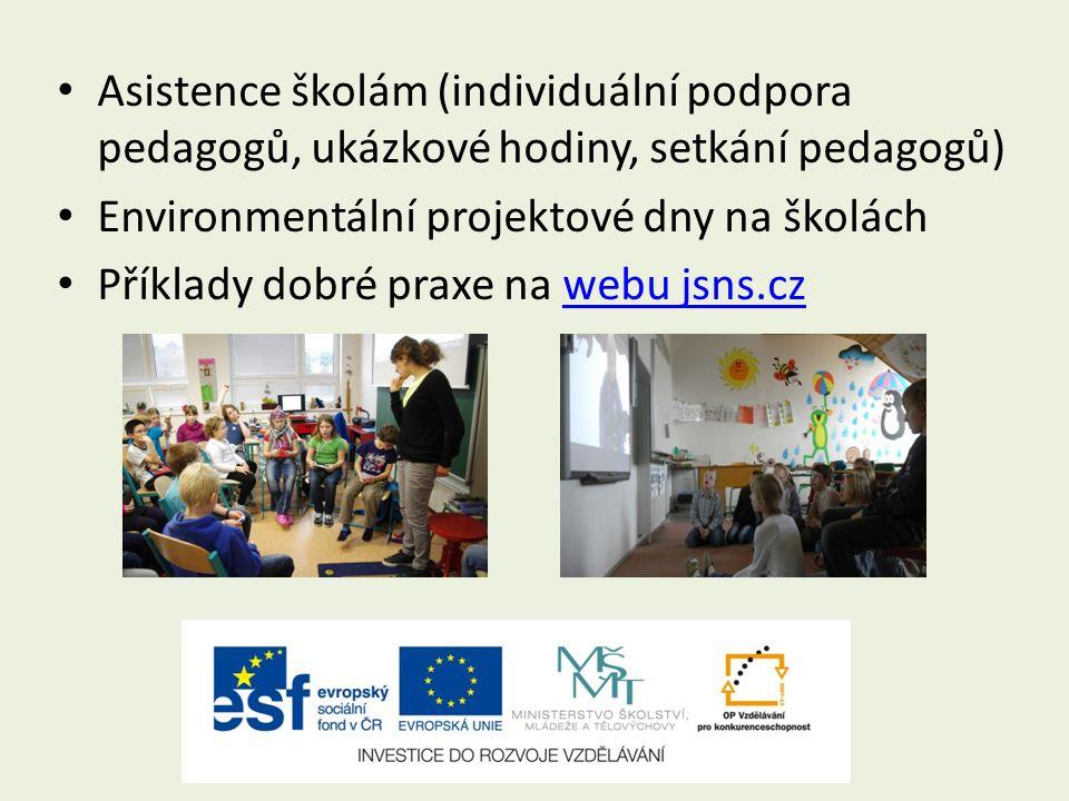 Asistence školám (individuální podpora pedagogů, ukázkové hodiny, setkání pedagogů) Environmentální projektové dny na školách Příklady dobré praxe na webu jsns.czwebu jsns.cz