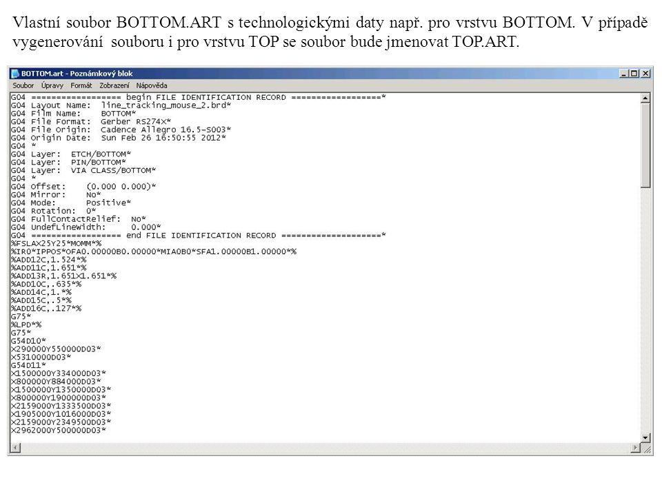 Vlastní soubor BOTTOM.ART s technologickými daty např.
