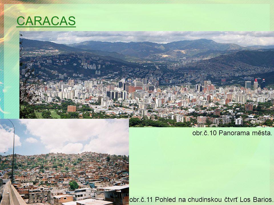 CARACAS obr.č.10 Panorama města. obr.č.11 Pohled na chudinskou čtvrť Los Barios.