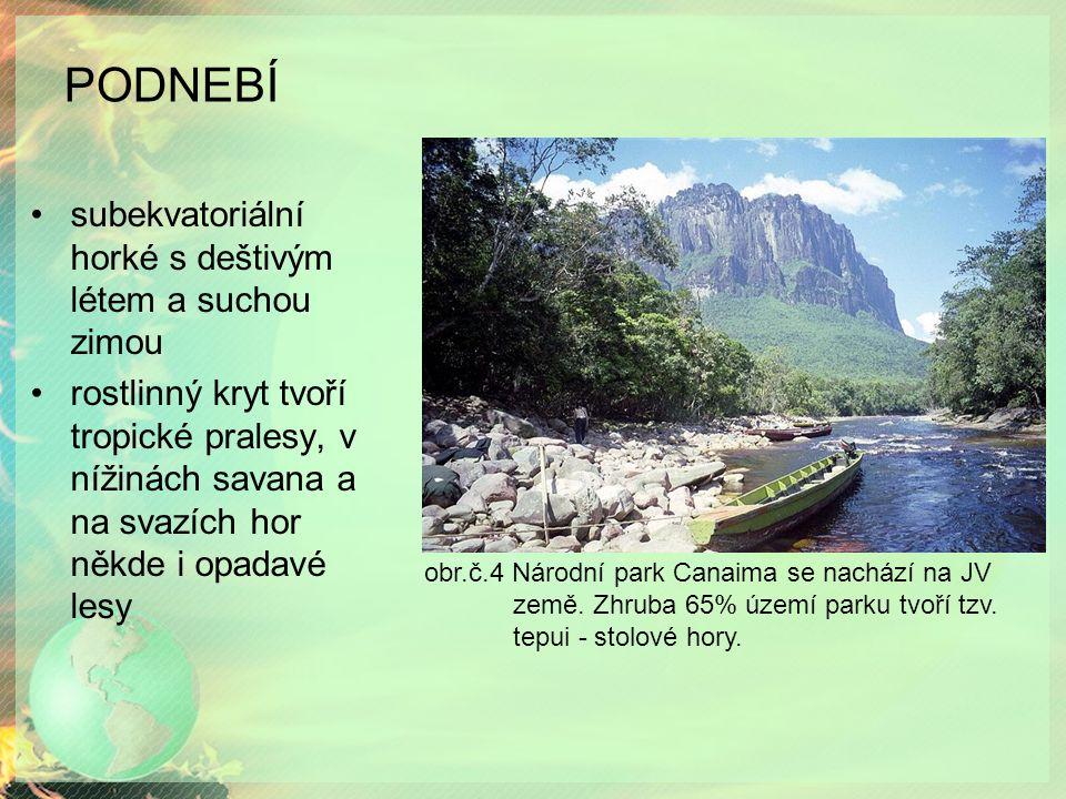 PODNEBÍ subekvatoriální horké s deštivým létem a suchou zimou rostlinný kryt tvoří tropické pralesy, v nížinách savana a na svazích hor někde i opadavé lesy obr.č.4 Národní park Canaima se nachází na JV země.