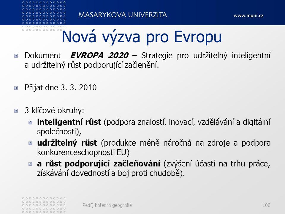 Nová výzva pro Evropu Dokument EVROPA 2020 – Strategie pro udržitelný inteligentní a udržitelný růst podporující začlenění. Přijat dne 3. 3. 2010 3 kl