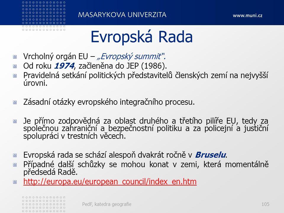 """Evropská Rada Vrcholný orgán EU – """"Evropský summit"""". Od roku 1974, začleněna do JEP (1986). Pravidelná setkání politických představitelů členských zem"""