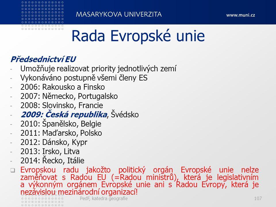 Rada Evropské unie Předsednictví EU - Umožňuje realizovat priority jednotlivých zemí - Vykonáváno postupně všemi členy ES - 2006: Rakousko a Finsko - 2007: Německo, Portugalsko - 2008: Slovinsko, Francie - 2009: Česká republika, Švédsko - 2010: Španělsko, Belgie - 2011: Maďarsko, Polsko - 2012: Dánsko, Kypr - 2013: Irsko, Litva - 2014: Řecko, Itálie  Evropskou radu jakožto politický orgán Evropské unie nelze zaměňovat s Radou EU (=Radou ministrů), která je legislativním a výkonným orgánem Evropské unie ani s Radou Evropy, která je nezávislou mezinárodní organizací.