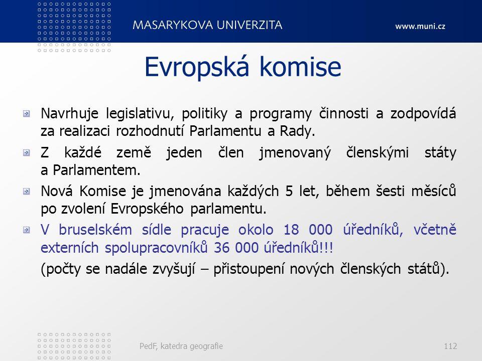 Evropská komise Navrhuje legislativu, politiky a programy činnosti a zodpovídá za realizaci rozhodnutí Parlamentu a Rady. Z každé země jeden člen jmen