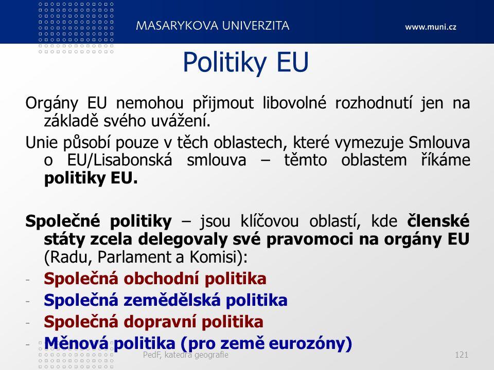 Politiky EU Orgány EU nemohou přijmout libovolné rozhodnutí jen na základě svého uvážení. Unie působí pouze v těch oblastech, které vymezuje Smlouva o